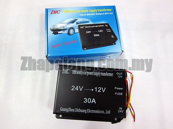 DIC 30A DC 24V to 12V Car Power Supply Transformer Converter