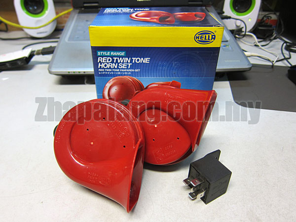 Hella Style Range Twin Tone Horn Set(Red) with Relay 110dB(A)