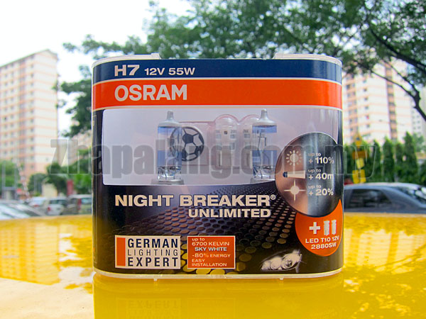 Osram Night Breaker Unlimited +110% Brightness + 20% Whiter 60/55W H7 with LED T10 6700K(Limited Offer for World Cup 2014)