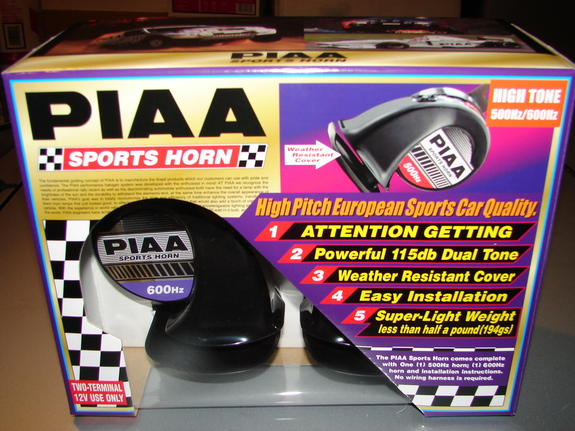 PIAA Powerful 115dB Euro Sports Horn 400/500HZ Black HO-2