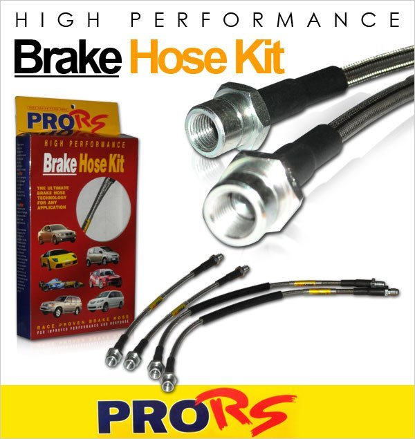 Pro-RS Steel Braided Brake Hoses Hyundai Accent/Excel/Pony/ X3 1.3/1.5/1.6 1996-1999 Rear Drum (4pcs)
