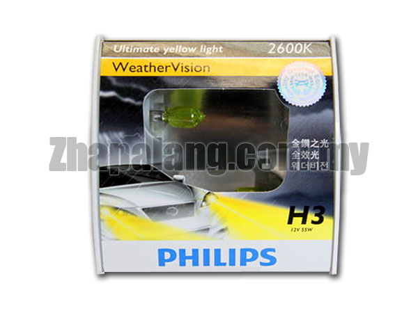 Philips Weather Vision H3 2600K Yellow Light Bulb 12V/55W