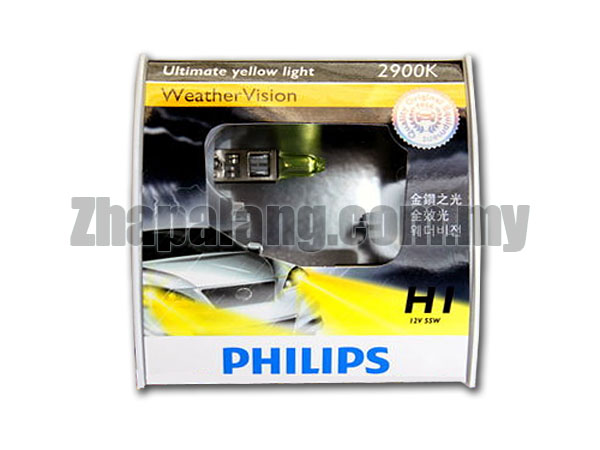 Philips Weather Vision H1 2900K Yellow Light Bulb 12V/55W