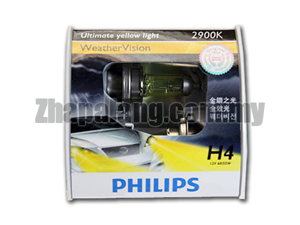 Philips Weather Vision H4 2600K Yellow Light Bulb 12V 55W/60W