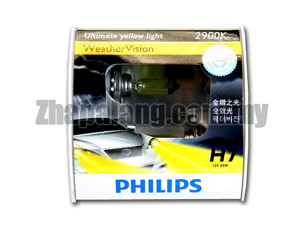Philips Weather Vision H7 2600K Yellow Light Bulb 12V/55W