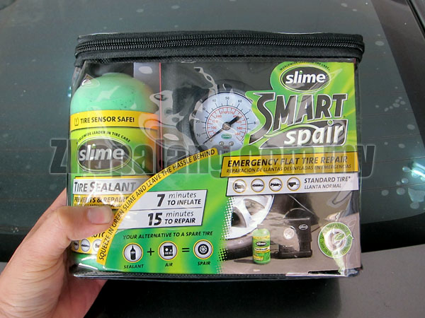 Slime-Smart Spair - 15 Minutes Emergency Flat Tire Repair Kit with tire sealant and 12 Volt Inflator SS-PDQ/06