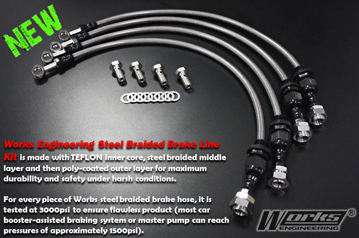 Works Engineering Steel Braided Brake Hoses Daihatsu Mira L200/L201 '90-'94